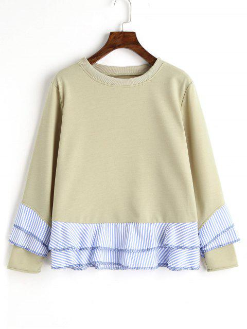 Drop Shoulder Striped Ruffle Hem Sweatshirt - Guisante Verde S Mobile