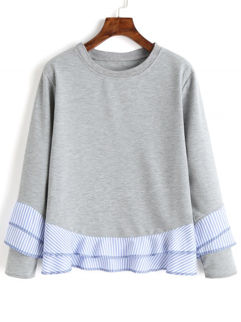 Drop Shoulder Striped Ruffle Hem Sweatshirt - Gris XL Mobile