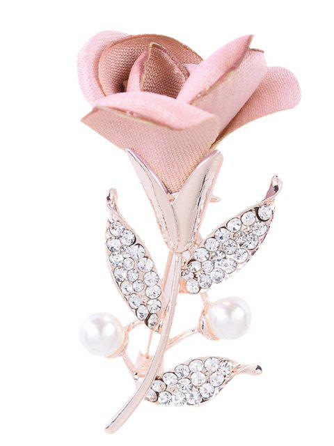 trendy Romantic Rose Rhinestone Embellished Brooch - LIGHT PINK  Mobile