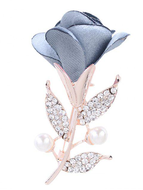 fashion Romantic Rose Rhinestone Embellished Brooch - LIGHT BLUE  Mobile