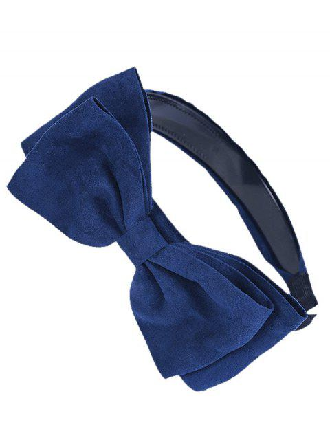 trendy Corduroy Bowknot Embellished Hair Hoop - DEEP BLUE  Mobile
