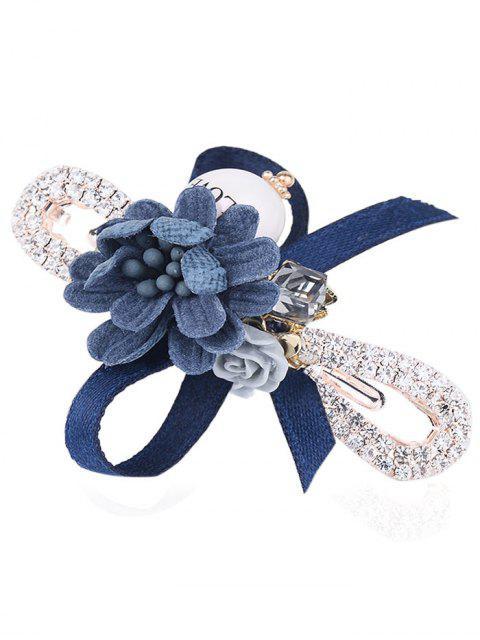 Bowknot verschönert Strass Haarnadel - Dunkel Blau  Mobile