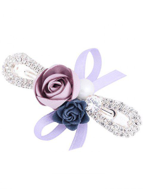 lady Rhinestone Inlay Bowknot Embellished Barrette - LIGHT PURPLE  Mobile