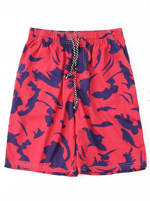 best Printed Drawstring Board Shorts - RED 2XL Mobile