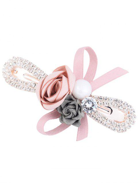 Incrustaciones de diamantes de imitación bowknot adornado barrette - Rosa  Mobile