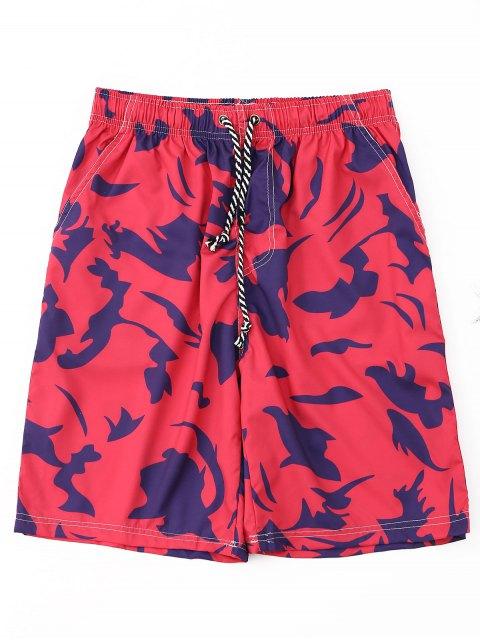 Pantalones cortos con cordón estampado - Rojo M Mobile