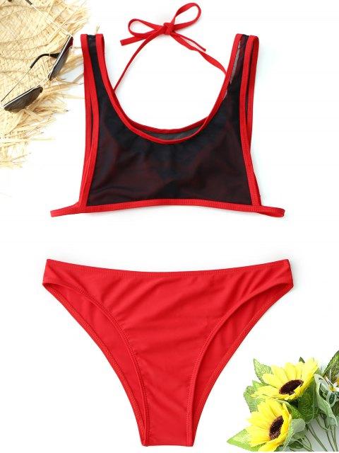 Conjunto de Bikini de Malla de Halter Bralette - Rojo M Mobile