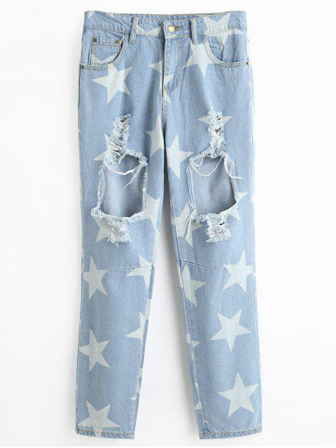 latest Cut Out Ripped Star Jeans - LIGHT BLUE XL Mobile