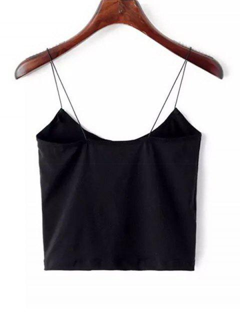 latest Plain Cropped Spaghetti Strap Tank Top - BLACK S Mobile
