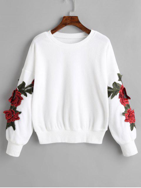 hot Floral Appliques Drop Shoulder Sweatshirt - WHITE L Mobile