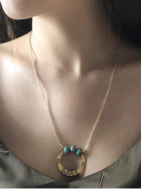 Faux Turquoise Tribal Moon Necklace - Dorado  Mobile
