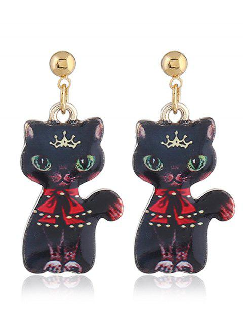 Funny Kitten Earrings Pendientes - ROJO CON NEGRO  Mobile