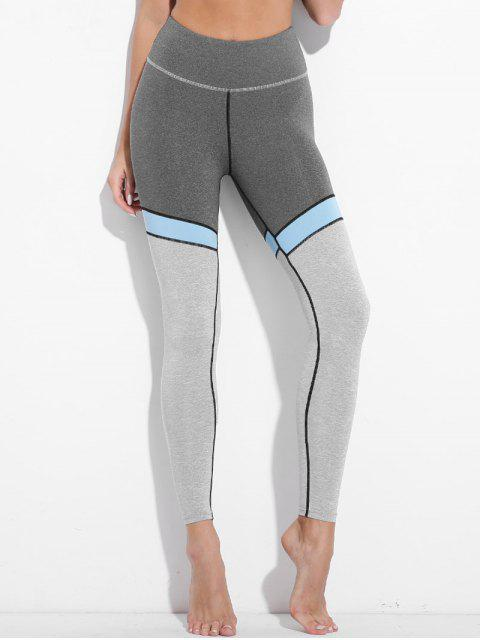 outfits High Waisted Color Block Active Leggings - GRAY L Mobile