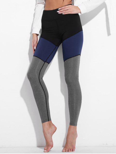affordable Colorblock High Waisted Active Leggings - GRAY S Mobile