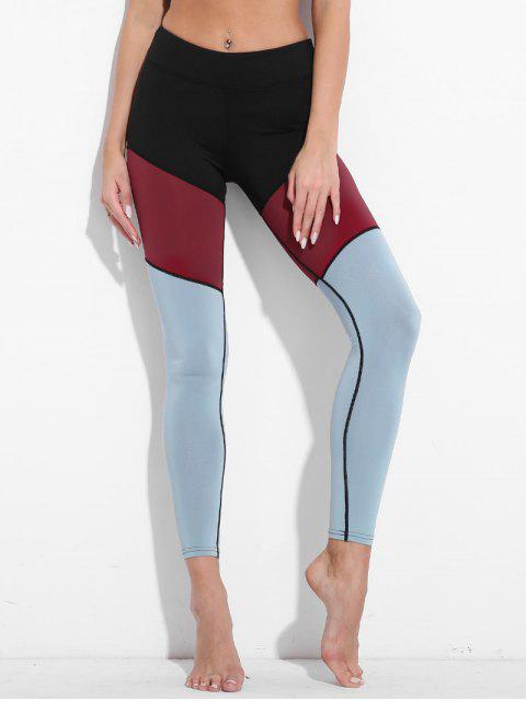 women Colorblock High Waisted Active Leggings - BLUE GRAY M Mobile