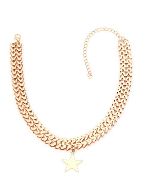 Collar Zig Zag Chain Star - Dorado  Mobile