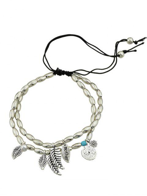 best Layered Charm Beads Adjustable Mother Bracelet - SILVER  Mobile