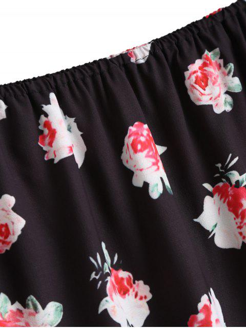 womens Off Shoulder Floral Flare Sleeve Blouse - BLACK S Mobile