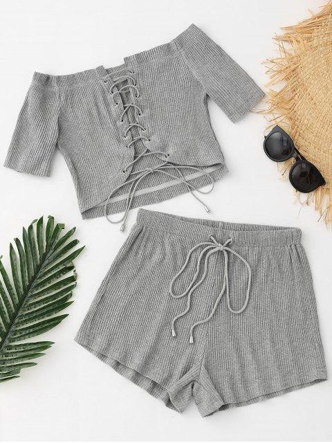 Pantalones cortos con cordones y cordones con cordones - Gris S Mobile