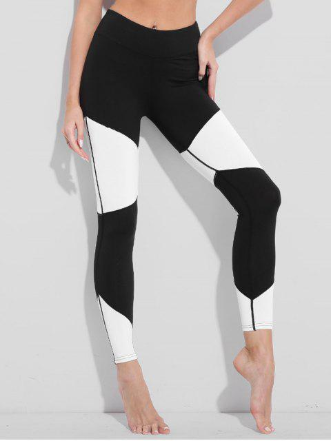trendy Two Tone High Waisted Active Leggings - WHITE AND BLACK L Mobile