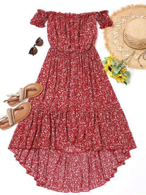 affordable Tiny Floral High Low Dress - RED M Mobile