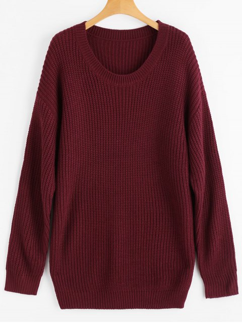 lady Drop Shoulder Longline Chunky Sweater - WINE RED ONE SIZE Mobile