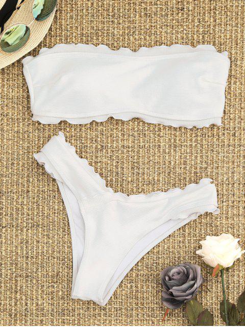 online Ribbed Lettuce Trim Bandeau Bikini Set - WHITE S Mobile