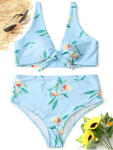 best Tied Lemon Print High Waisted Bikini Set - LIGHT BLUE S Mobile