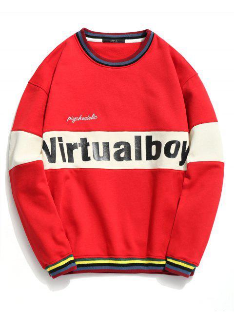 Sweat-shirt Contrastant à Lettre - Rouge M Mobile