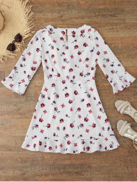 shop Flare Sleeve Floral Striped Bowtie Dress - FLORAL L Mobile