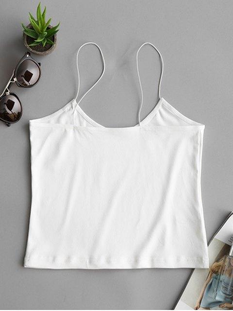 trendy Plain Cropped Spaghetti Strap Tank Top - WHITE M Mobile