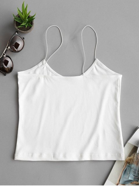 chic Plain Cropped Spaghetti Strap Tank Top - WHITE S Mobile