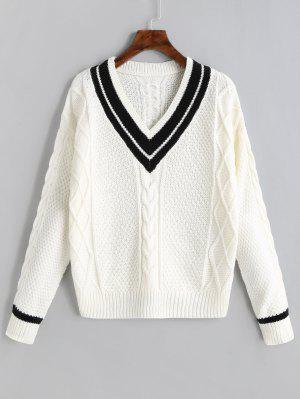 V Neck Contrast Cable Knit Sweater - Off-white