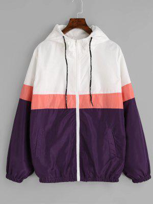 Zipper Color Block Windbreaker Jacket