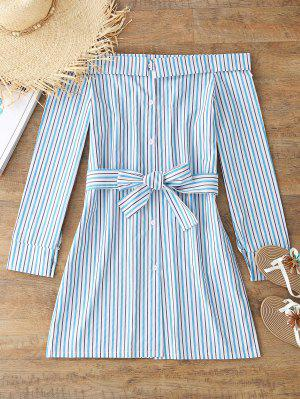 Off The Shoulder Striped Belted Dress - Blue Strip Pattern M