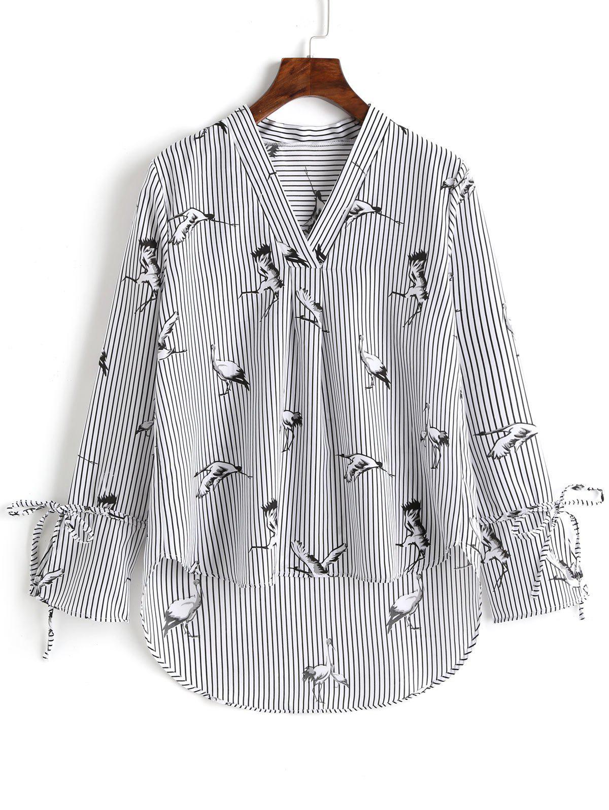 V-Ausschnitt gestreifter Kran High Low Bluse