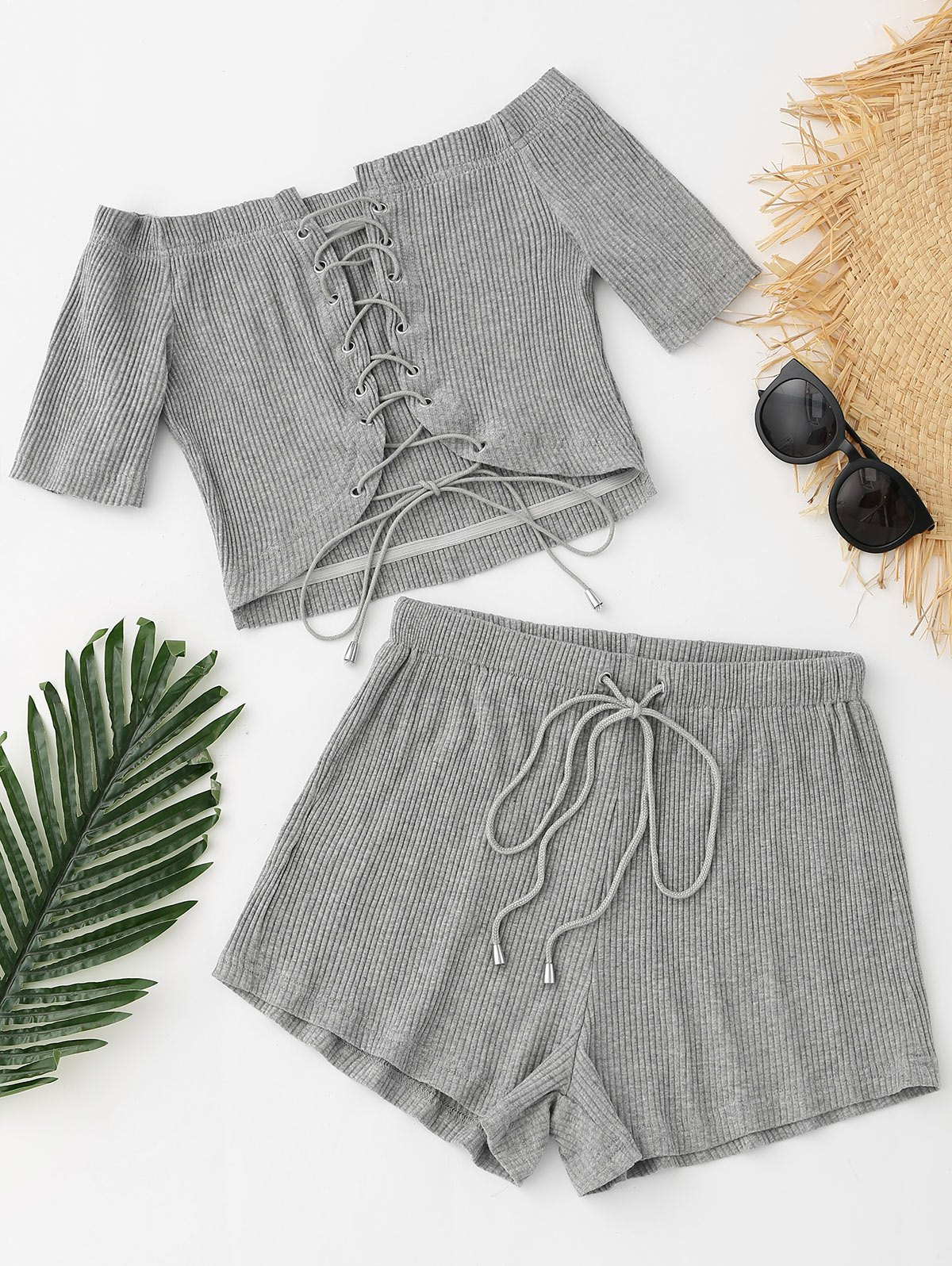 Lace up Ribbed Crop Top and Drawstring Shorts 244226903