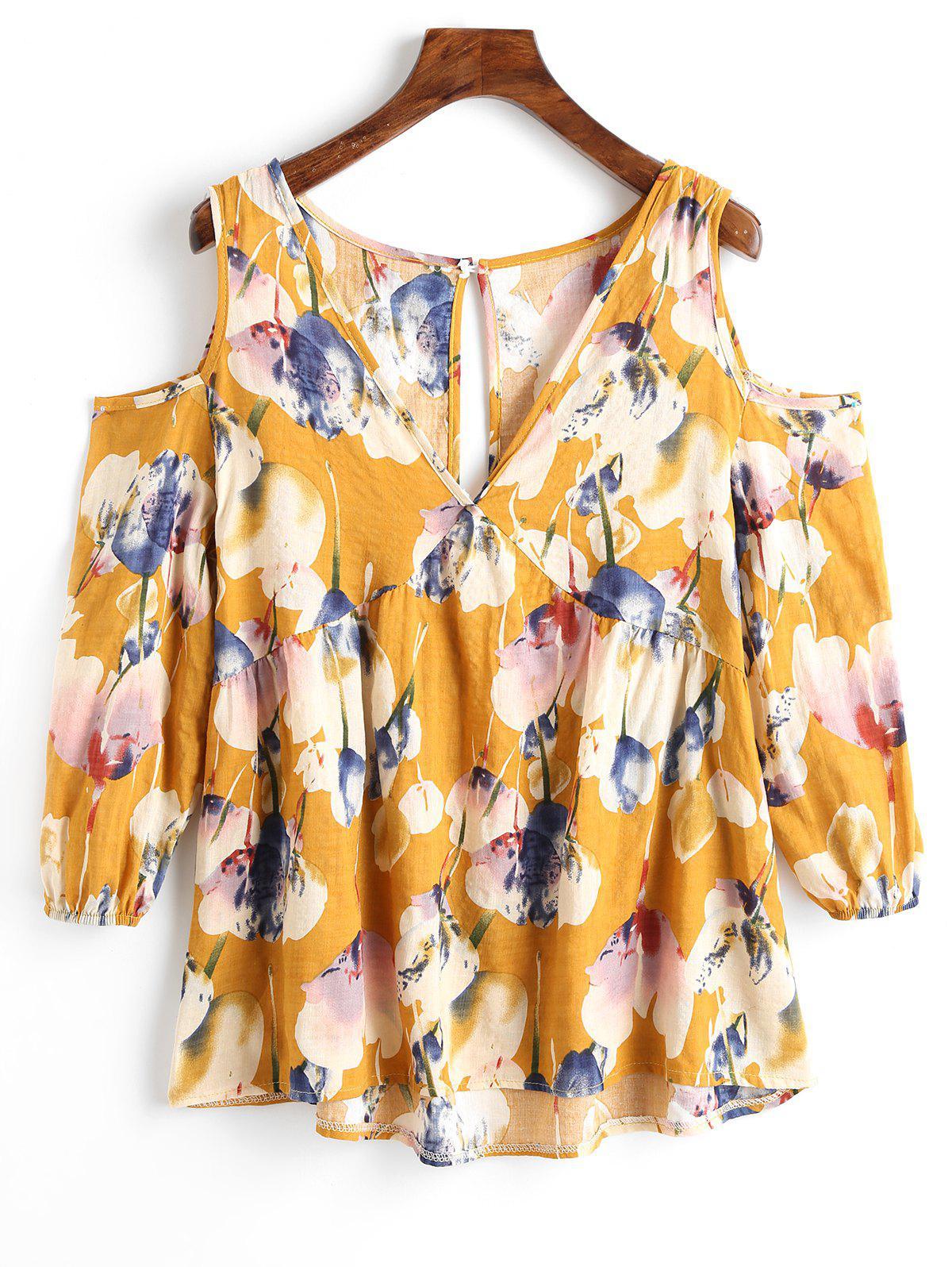 Kaltschulter Ausschnitt Blumendruck Bluse
