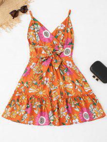 Vestido Sin Camisero Estampado Floral De Espalda Alta S Floral Cintura ZZqF6Br