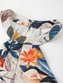 L Vestido Recortadas Floral Hojas De Acampanado Con Estampado Floral HBp8F