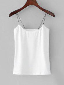 توب سترة حزام السباغيتي بلون واحد - أبيض S