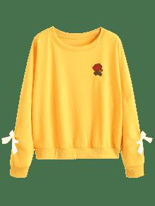 Adornos Con Florales Sudadera Amarillo M qUgwfX5