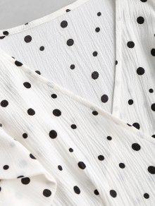 Vestido Fruncidos Mini Y Descubiertos De Blanco Con Ruffles Hombros Xl 44FArq