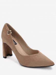 حذاء مدبب من الأمام ذو كعب عالي مزين بمشبك - كاكي 38