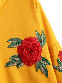 Jengibre Hoodie Drawstring M Appliques Floral 5qXptx0nwE