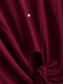 Hem Bowknot L Vino Rojo Camiseta Rebordear dYaTWqnYpr