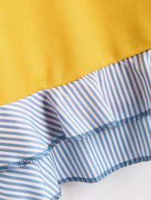 Striped S Hem Ruffle Amarillo Drop Shoulder Sweatshirt fq5gYg