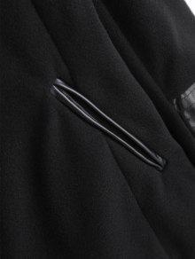 L Negro Chaqueta Cuero Drapeado Asim Drapeado De 233;trico 10RT1zq