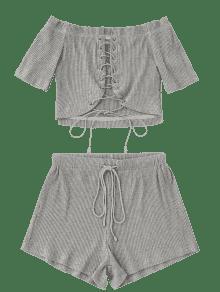 Pantalones Cordones Con Gris Cortos Con S Y Cordones Cordones S1Sqwr