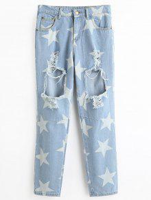 جينز ممزق ذو فتحات طباعة النجمة - الضوء الأزرق Xl